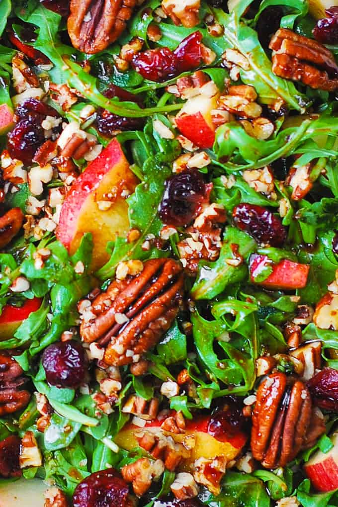 Arugula Salad with Apples, Cranberries, Pecans