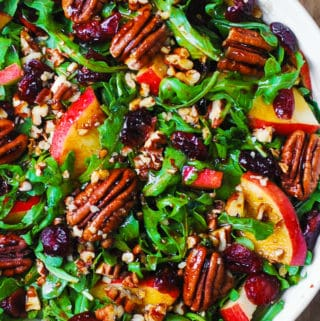 Arugula Salad with Apples, Cranberries, Pecans, and Balsamic Dressin