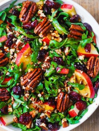 Arugula Salad with Apples, Cranberries, Pecans, and Balsamic Dressin