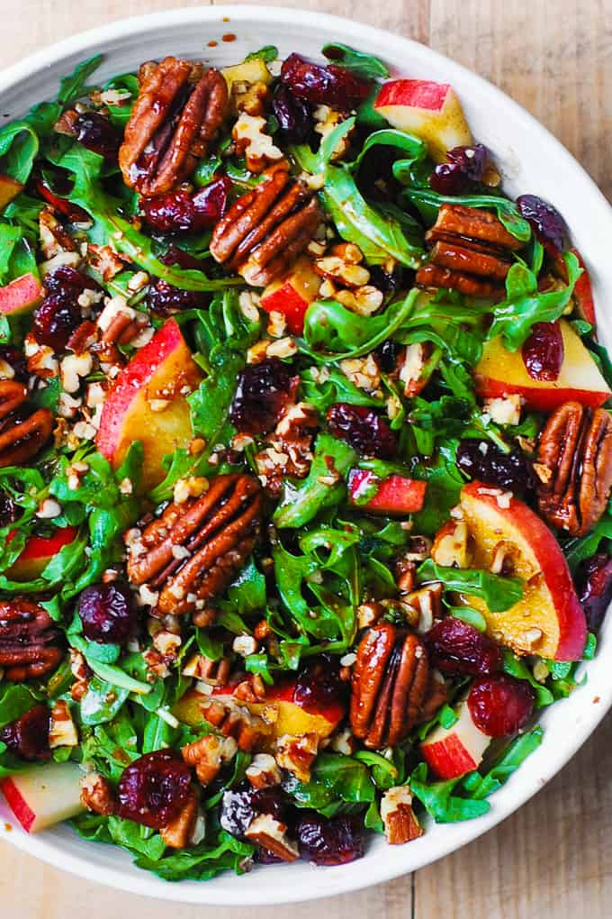Arugula Salad with Apples, Cranberries, Pecans, and Balsamic Dressing