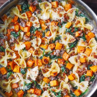 Creamy Butternut Squash Pasta with Sausage and Spinach and creamy Parmesan Sauce