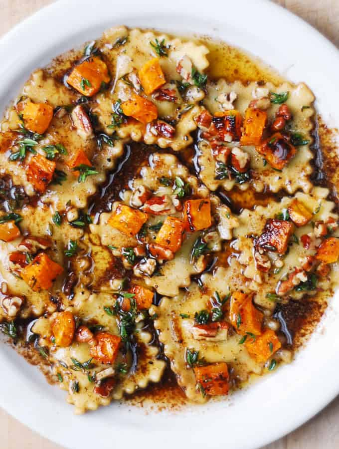 Butternut Squash Ravioli with Browned Butter and Pecan Sauce