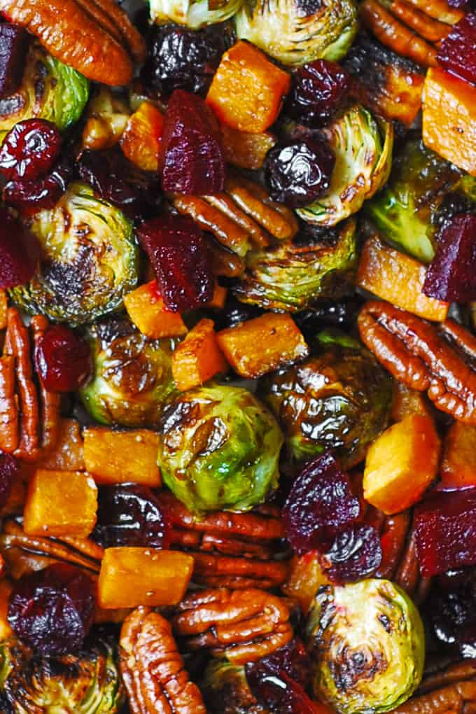 Winter Vegetable Salad with Butternut Squash, Brussels Sprouts, Beets, Pecans, and Dried Cranberries