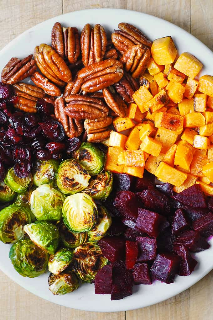 Winter Roasted Vegetable Salad with Butternut Squash, Brussels Sprouts, Beets, Pecans, and Dried Cranberries
