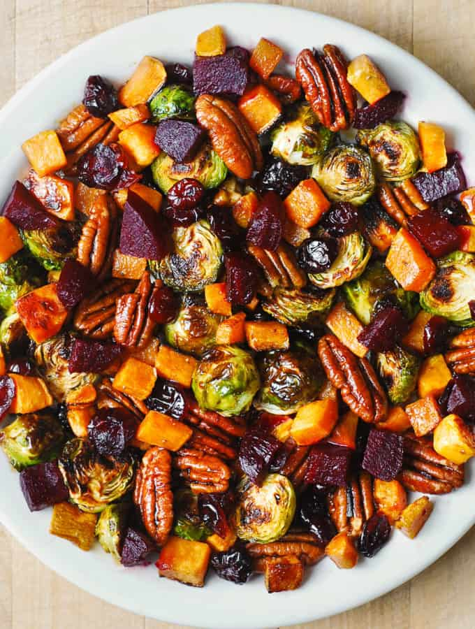 Winter Vegetable Salad with Butternut Squash, Brussels Sprouts, Beets, Pecans, and Cranberries