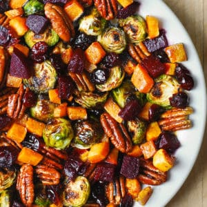 Winter Vegetable Salad with Butternut Squash, Brussels Sprouts, and Beets