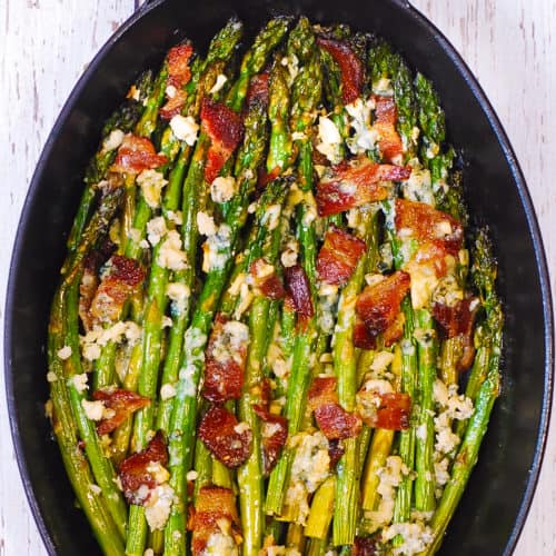 roasted asparagus with blue cheese and bacon