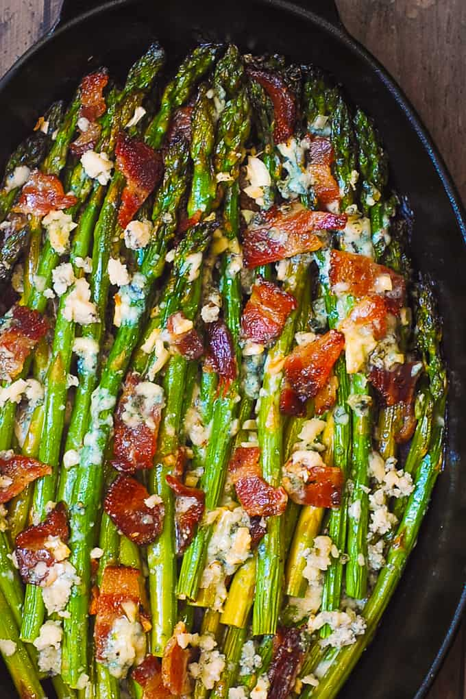 asparagus with blue cheese and bacon