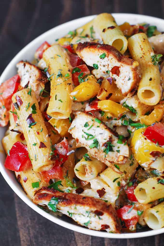 Creamy and spicy Cajun Chicken Pasta with Bell Peppers and homemade Cajun seasoning
