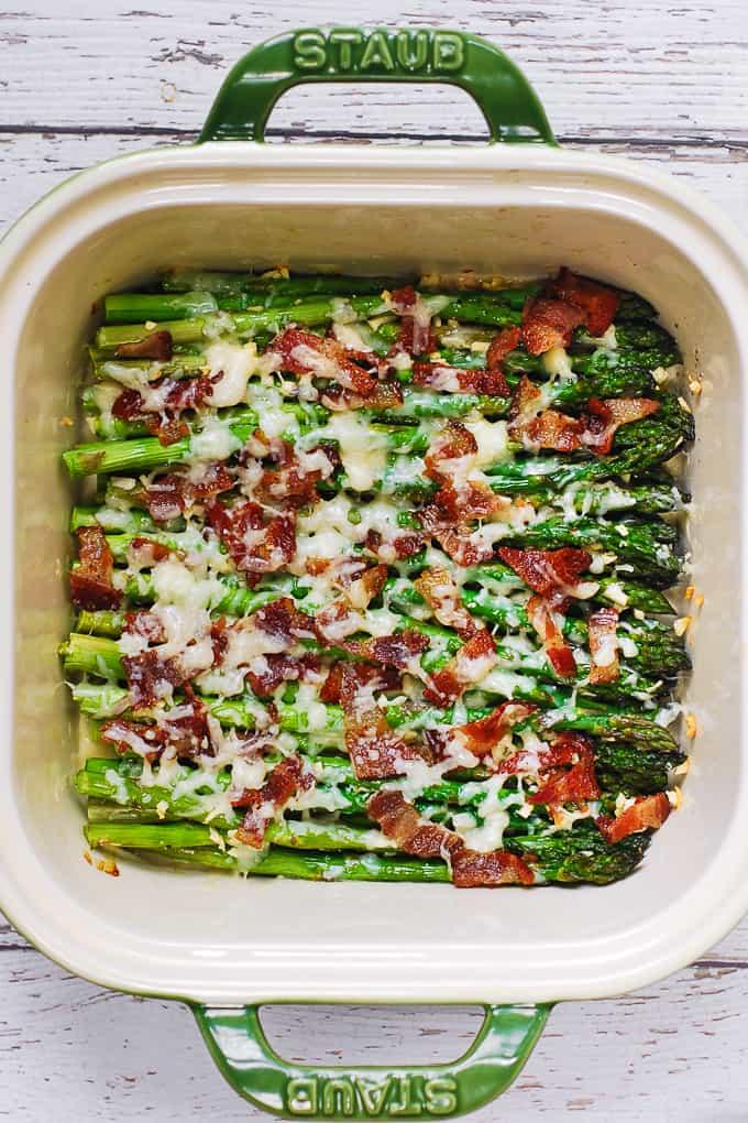 Cheesy Baked Asparagus with Bacon