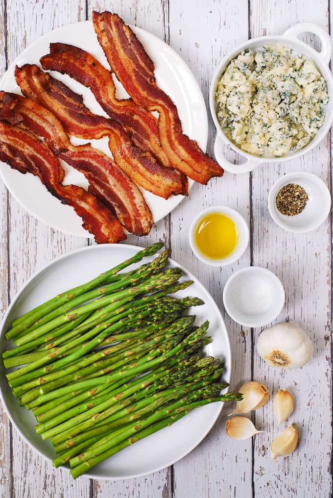 Ingredients for Asparagus with Blue Cheese and Bacon