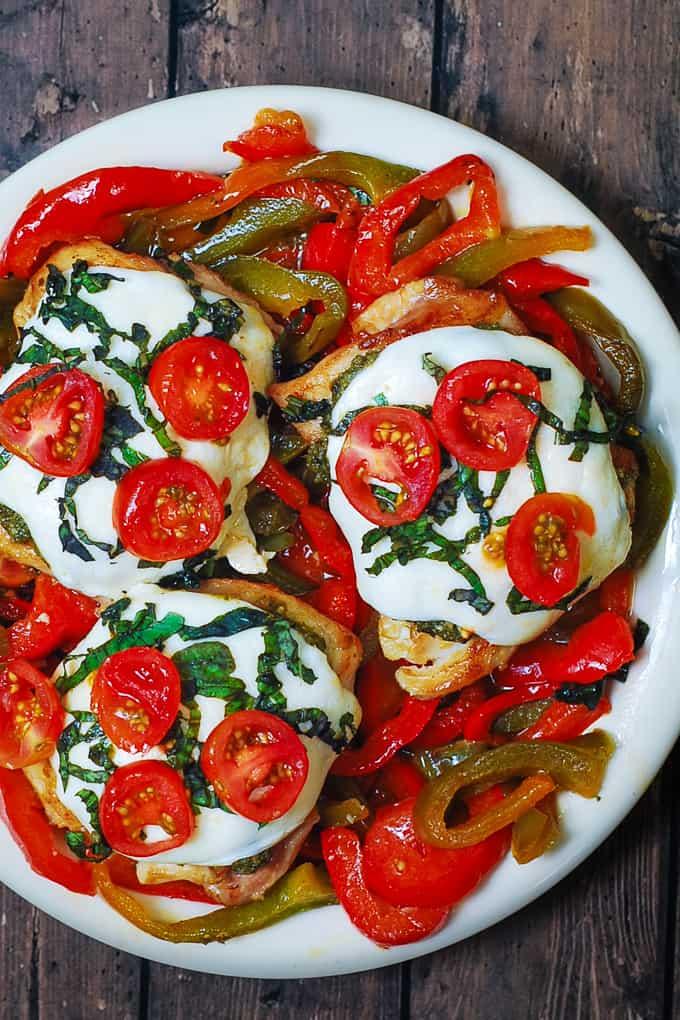Chicken Margherita with Mozzarella, Cherry Tomatoes, Basil Pesto