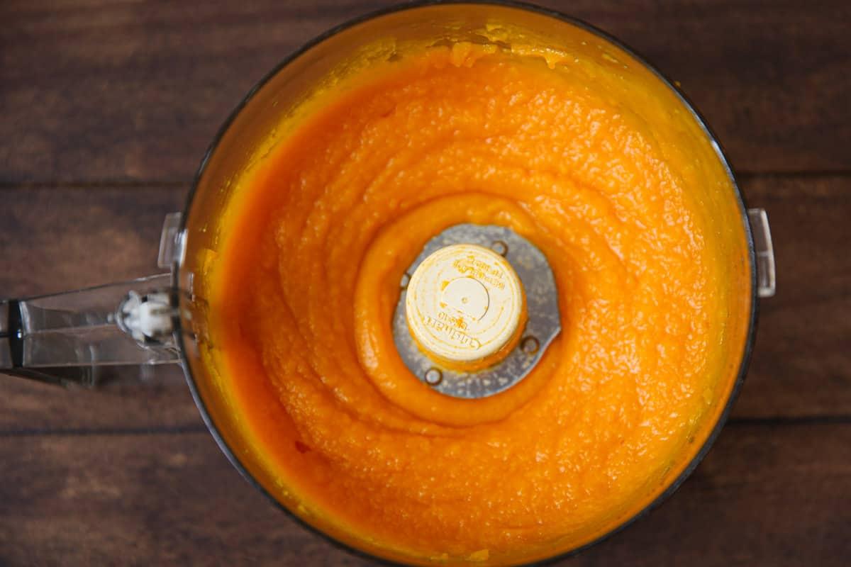 butternut squash puree in a food processor