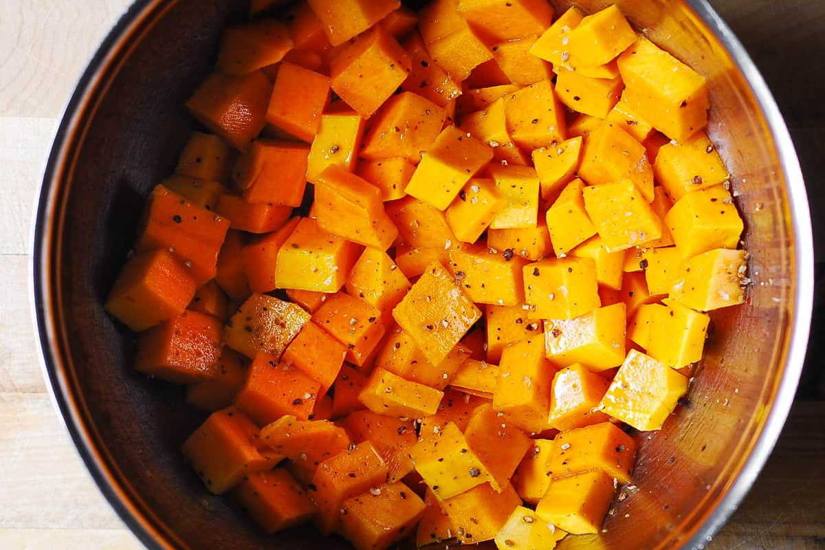 cubed butternut squash in a large bowl