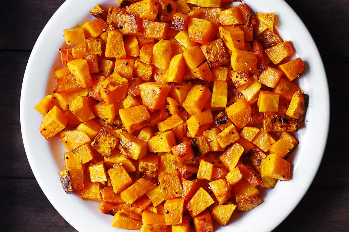 roasted butternut squash on a white plate